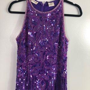 Vintage purple sequined beaded dress maxi